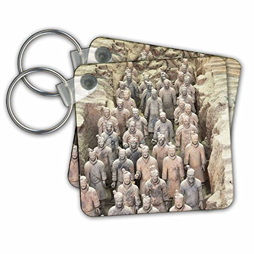 Terracotta army, Xian, Shaanxi Province, China - Key Chains, 2.25 x 2.25 inches, set of 2 (kc_45919_1)