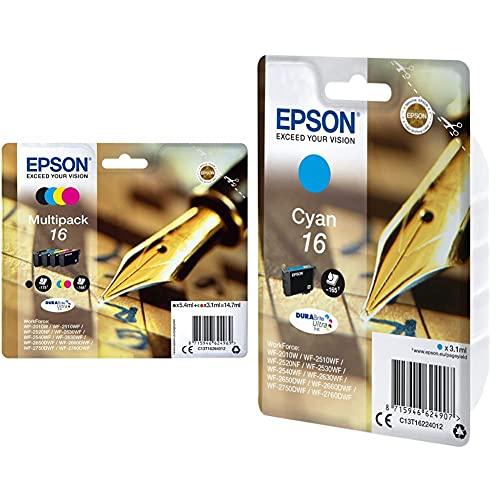 Epson 16 Series Pen And Crossword- Cartuccia D'Inchiostro, Multicolore (Black/Cyan/Magenta/Yellow) & C13T16224022 Cartuccia D'Inchiostro, Ciano