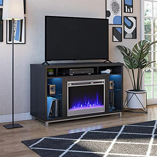 """Ameriwood Home Lumina Fireplace Stand for TVs up to 48"""", Black Oak"""