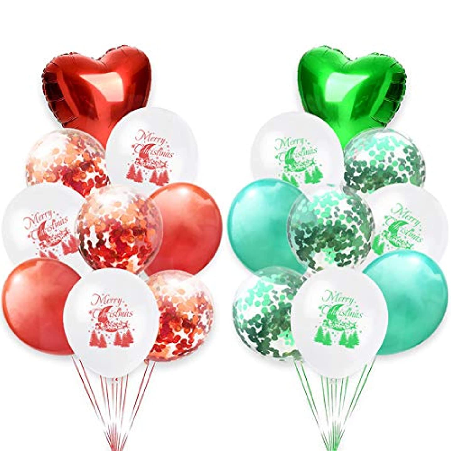 Merry Christmas Balloons Party Decorations Set, 12 Inches Confetti Green & Red Latex Balloons, Aluminum Foil Santa Claus,Tree,Christmas Banner (Style2-18pcs)