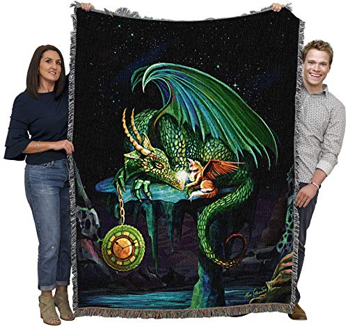 Pure Country Weavers Emerald Time Dragon Rose Cat Khan Blanket Throw Woven from Cotton - Made in The USA (72x54)