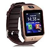 Bluetooth Reloj Inteligente DZ09, Smartwatch Teléfono Inteligente Pulsera con Cámara Pantalla Táctil Compatible con Tarjeta SIM/TF para iOS o Android HTC LG Huawei Sony Xiaomi (Gold)