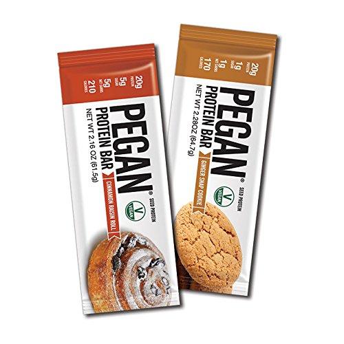 Julian Bakery Pegan Thin Protein Bar | Variety Pack | Cinnamon Raisin Roll & Ginger Snap Cookie | 2 Flavors | 20g Protein | Vegan/Paleo | 12 Bars