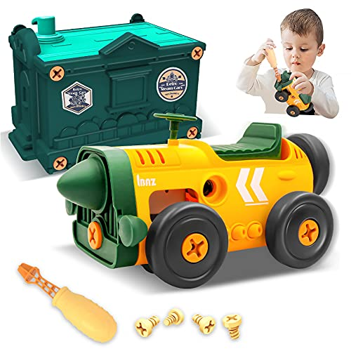 Toys for 3 4 5 6 Year Old Boys - STEM Building Toys for Kids | Take Apart Retro Toys Car with Electric Motor Toys for Kids Age 4-7 | Toddler Kids Learning Toys Christmas Birthday Gifts for Boys Girls