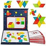 Puzzles Infantiles Tangram Montessori Puzzle Madera Juegos Infantiles Rompecabezas Magnético Juguetes Madera Juegos Educativos de Bloques Lógicos Regalos para Niños Niña Bebes 3 4 5 6 Años