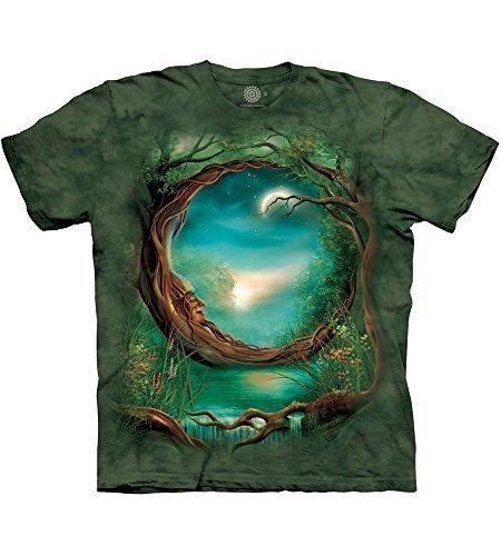 The Mountain Moon Tree Erwachsenen-T-Shirt, Grün, 2XL