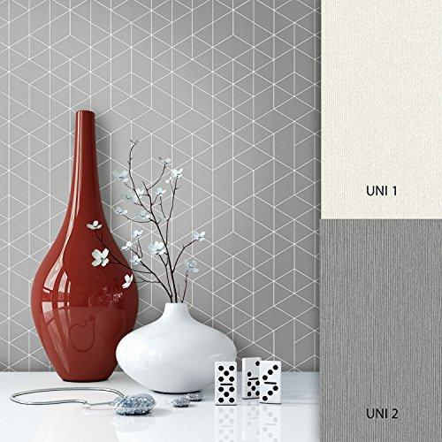 NEWROOM Tapete Grau Geometrisch Muster Grafik Vliestapete Vlies moderne Design Optik Grafiktapete Skandinavisch inkl. Tapezier Ratgeber