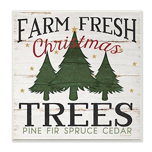 Stupell Industries Farm Fresh Christmas Trees Wall Plaque, 12 x 12, Design By Artist Jennifer Pugh