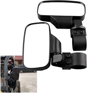 2 PCS Motorcycle UTV Modified Side View Mirrors for UTV with 1.75 inch and 2 inch Roll Cage High Quality (Color : Black)
