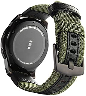 Galaxy Watch 46mm Bands, Maxjoy Gear S3 Frontier Classic Nylon Band, 22 mm Quick Release Replacement Strap Large Sport Wristband with Metal Buckle Compatible Samsung Gear S3 Smart Watch, Army Green