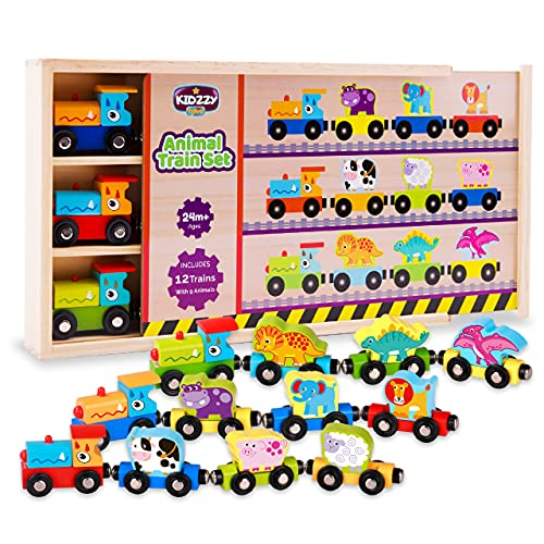Wooden Trains Set (21 PCS) with 3 Dinosaurs 3 Farm 3 Zoo Animals with Box and Cover - Train Toys...