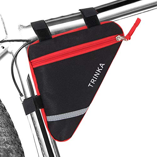QitinDasen Premium Fahrrad Ddreiecktasche, Fahrrad Vorderrohr Rahmentasche, Fahrrad Wasserdichte Werkzeugtasche, Doppelseitige Reflektierende Dekoration (Rot)