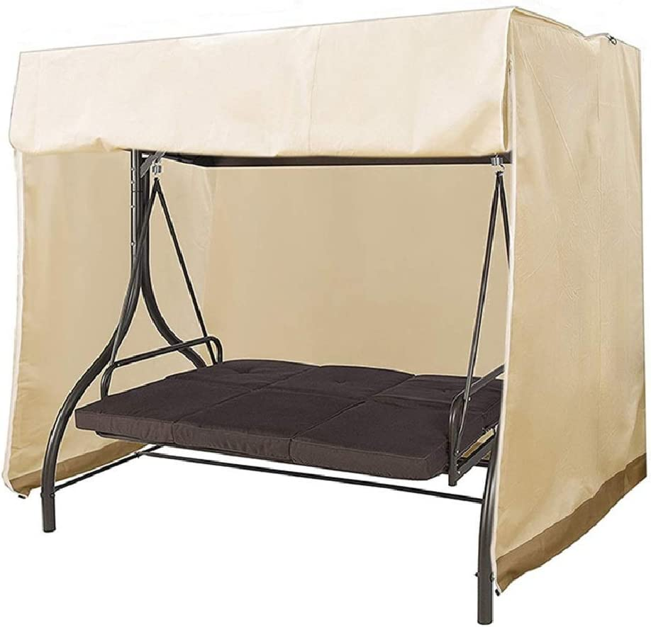 Outdoor Swing Cover 3 Seater Swing Covers for Outdoor Furniture Patio Swing Cover Durable Hammock Outdoor Swing Glider Cover 87x49x67 inches All Weather Protection (Beige)