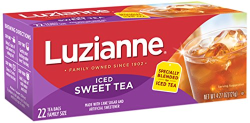 Luzianne Iced Sweet Tea, Family Size 22 Count Box, (Pack of 6)