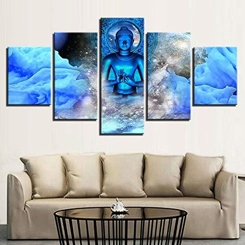 JJJKK Canvas Prints Buddha Statue Meditation Yoga 5 Piece Wall Art Decor Home Decoration Painting Printed on canvas Modern Large Artwork Ready to Hang