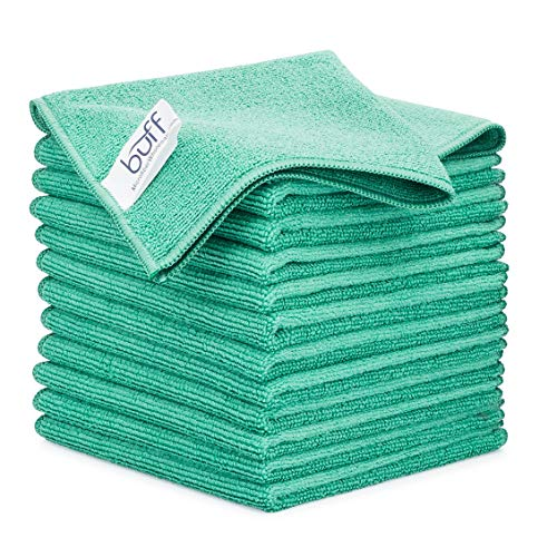 12' x 12' Buff Pro Multi-Surface Microfiber Cleaning Cloths | Green - 12 Pack | Premium Microfiber Towels for Cleaning Glass, Kitchens, Bathrooms, Automotive