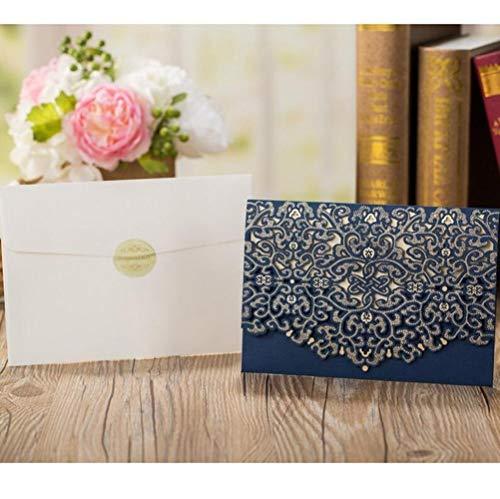 Piero 1PCS Blauwe bruiloft uitnodigingskaart Elegant kant met enveloppen Verjaardag Bruiloft gunst, Een set blauw, 185 x 127 mm