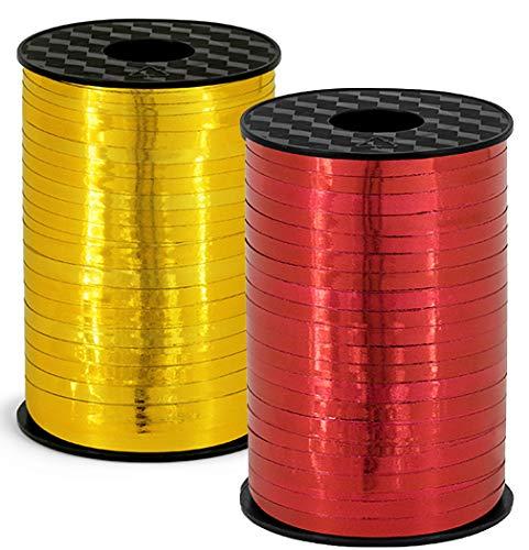 HausderHerzen 2er Set Polyband - 2X 225 Meter rot und Gold - Geschenkband Kräuselband Ringelband Ballonband 5 mm Hochglanz für Geschenke oder Ballons