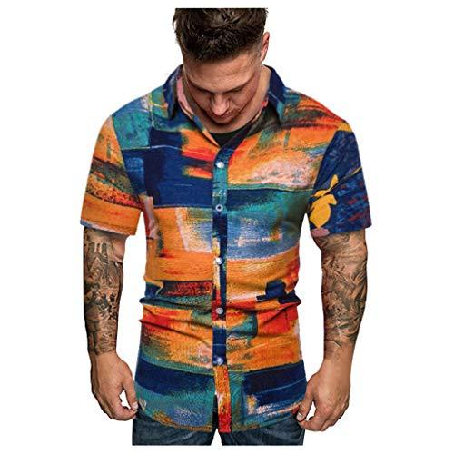 Vintage Leinenhemd Herren Hemd Henley-Shirt, Kurzarm, leicht Sommerhemd Herren Regular Fit Freizeithemd