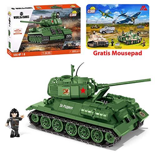 Konstruktion Spielzeug kleine Armee Panzer T-34/85 World of Tanks Bausteine + Mauspad von Juminox Gratis
