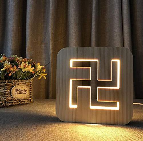 3D Holz Abstarct Einfache Form Korn Nachtlicht DIY Anpassen Tischlampe Freunde Geburtstag Trophäe Geschenk Home Decoration Buddhismus Logo