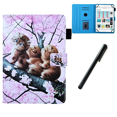 """HereMore Hülle für 10.1 Zoll Tablet mit Stift, Smart Case Ständer Cover Tasche Schutzhülle für Samsung Tab A 10.1/S5e 10,5"""", Huawei Mediapad T5/M5 Lite 10/M5 10.8, Lenovo Tab E10, iPad 10,2"""", Katze"""