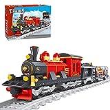 TopBau Tren de hierro de vapor, bloques de construcción, 410 piezas, tren de pasajeros, juego de juguetes compatible con Lego City