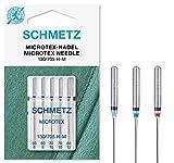 SCHMETZ Nähmaschinennadeln im Set | 5 Microtex-Nadeln | 130/705 H-M | Nadeldicken: 2x...