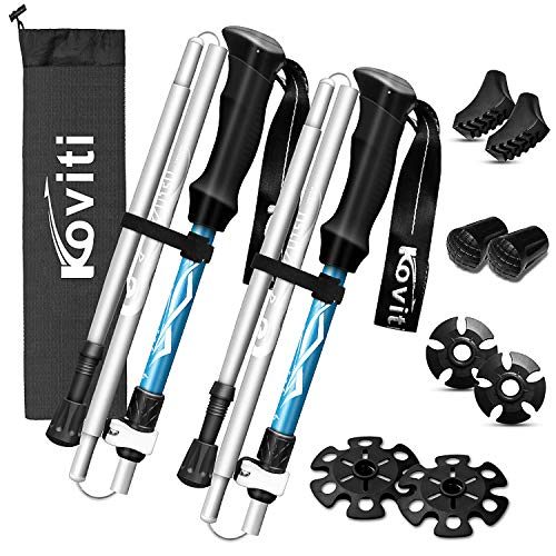 Koviti Trekking Poles - Collapsible Hiking Poles 2pc Pack, Strong Lightweight Walking Sticks with 8 Season Accessories, Aluminum Alloy 7075, Adjustable Quick Lock for Hiking, Camping