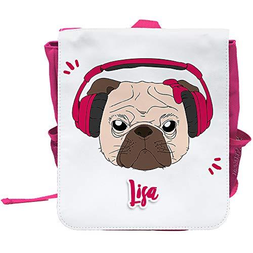Kinder-Rucksack mit Namen Lisa und schönem Motiv - Mops mit Kopfhörer und Schleife - in Pink für Mädchen | Rucksack | Backpack