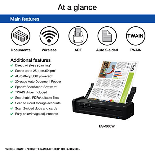Epson Workforce ES-300W Wireless Color Portable Document Scanner with ADF for PC and Mac, Sheet-fed and Duplex Scanning Photo #7
