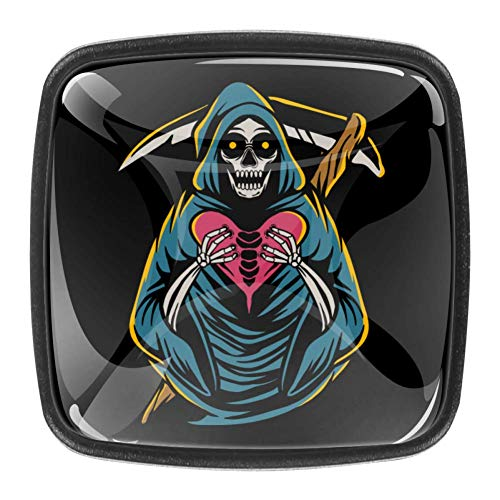 Grim Reaper - Pomos cuadrados para armario de cocina, 4 piezas de asas de cajón
