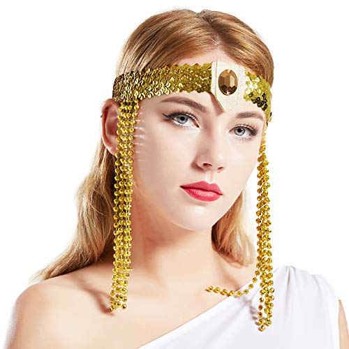 Coucoland Vintage Pailletten Hoofdband Egyptisch stijl haarband motto party dames carnaval kostuum accessoires