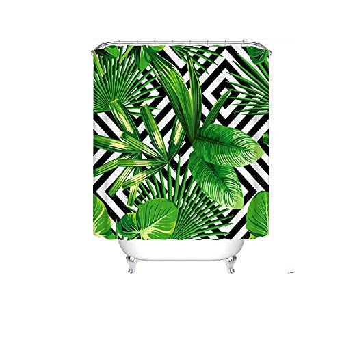 SMNHSRXH douchegordijnenset planten bladeren groene tropische palm badkamer douchegordijn waterdicht anti-schimmel