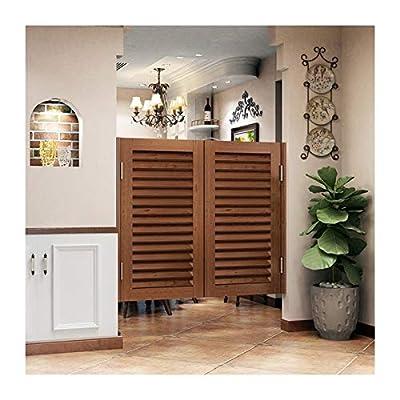 GDMING-竹ブラインド ルーバースイングドアカフェドア、 地中海 木製 サルーンドア と ステンレス鋼のヒンジ ために バーパーティション 廊下 レジカウンターを保管する 、カスタマイズ可能なサイズ (Color : Brown, Size : 110x100cm)