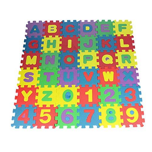 Everpertuk Spielmatte 36 TLG. Spielteppich Puzzlematte Kinderteppich Schutzmatte Kinderspielteppich Schaumstoffmatte ABC Lernteppich Puzzleteppich Puzzle Zahlen Buchstaben Maß je Matte ca. 312*12CM