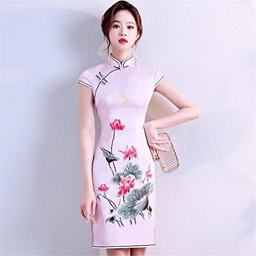 YAN Vestido de Mujer Vestido Chino Cheongsam Qipao Bordado Vestido cóctel Boda Diario vistiendo L, M, S, XL, XXL, XXXL (Color : Rosado, tamaño : L)