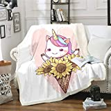 Unicorn Sunflower Fleece Blanket for Boys Girls Princess Peach Plush Throw Blankets for Couch Bed and Living Room Pink Girl Little Sherpa Throw Blanket Baby(30'x40')