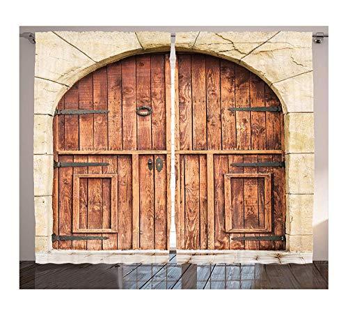 DKMDT Tende rustiche Quercia Tradizionale Realizzato Porta su Pietra Facciata Artigianale Caratteristiche Fatte a Mano Cultura