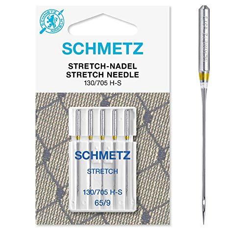 SCHMETZ Nähmaschinennadeln: 5 Stretch-Nadeln, Nadeldicke 65/09, 130/705 H-S, auf jeder gängigen Haushaltsnähmaschine einsetzbar, geeignet für die Verarbeitung von elastischen Stoffen