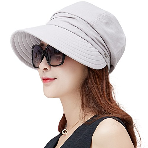 Comhats Damen Baumwolle Faltbarer Sonnenhut mit Visor Sommer UPF 50+ grau