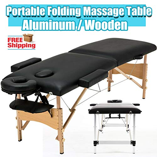 Professionele Massage Tafelbed Tattoo SPA Schoonheid Salon Therapie Behandeling Verstelbare Bank Draagbare 2 Sectie Vouwen Houten Frame - Zwart Aluminium Frame Zwart