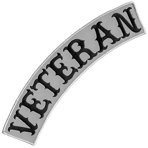 Veteran Bügelbild, bestickt, Biker-Jacke, Reiter, Weste, Rocker, Größe XL, USA, reflektierendes graues Oberteil, 30,5 cm