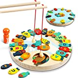 Lydaz 30 PCS Wooden Magnetic Fishing Game, Magnetic Alphabet Letters Fishing Toy, Montessori Educational Games Fine Motor Skill Toys for 3 4 5 Year Old Boys Girls Kids Toddlers
