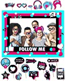 Tik Tok Photo Booth Frame Musical Themed Party Photo Booth Prop for Social Party Favor Girls Birthday Masquerade Photo Props Social Party