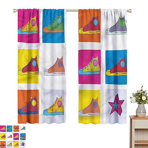 June Gissing Colorful DIY Curtain for Living Room Hand Drawn Sport Shoes Kitchen/Bedroom Window Treatments Home Decoration W52 x L39 Gift for Best Friend Woman
