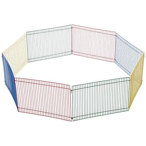 Pawhut Auslauf für Kleintier, 8 Elemente Hamsterzaun, Laufstall Freilaufgehege, Metall, Bunt, 69 x 69 x 23 cm