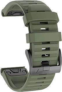 No Branded Correa de Reloj, Reemplazo de Silicona Suave de 26mm de Ancho, Pulsera Deportiva Transpirable para Garmin Fenix 6X/6X Pro, Fenix 5X/5X Plus, Fenix 3/3 HR, Ajuste Rápido-Ejercito Verde