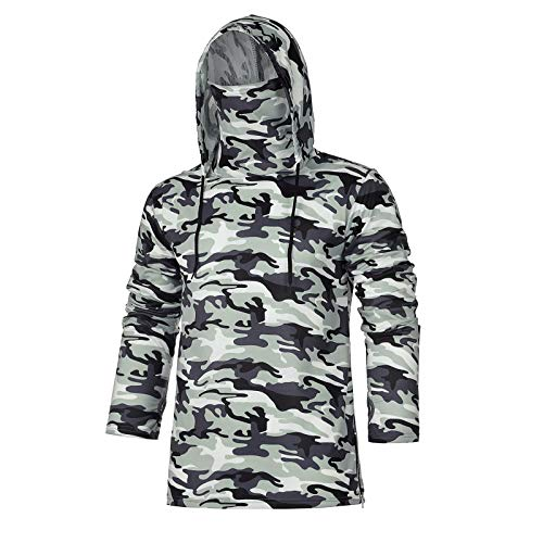 Workout Camouflage Hoodies for Men, Sweatshirt for Mens with Neck Gaiter Bodybuilding Athletic Pullover Shirt Tank Tops