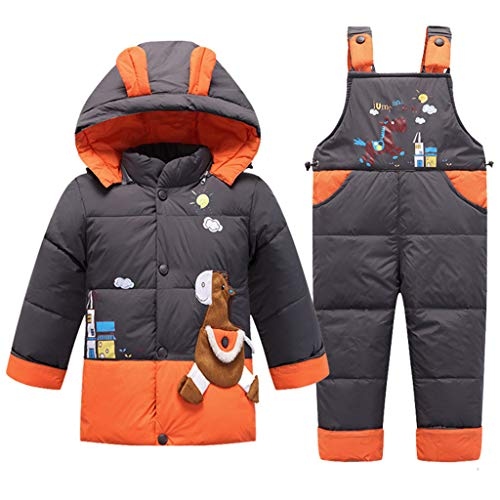 2 Piezas Bebé Traje de Nieve Chaqueta de Plumas con Capucha con Pantalones de Peto de Nieve Invierno Traje de Esquiar Unisexo Conjunto de Ropa Gris 18-24 Meses